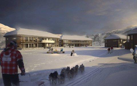 Dette er visjonen aktørane bak Eidfjord Resort ser for seg i Sysendalen. Illustrasjon: Eidfjord Resort