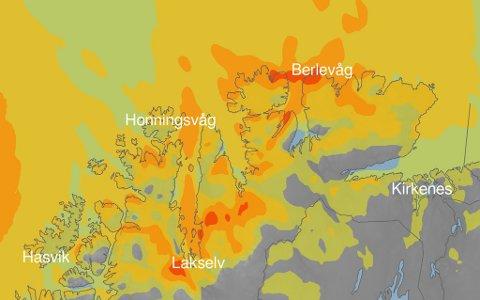 UVÆR: Nå blir det vindfullt i Finnmark.