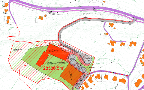 NY SKOLE: Slik kan den nye skolen bli se ut på Mustapartajordet - med ny vei fra nordsiden.