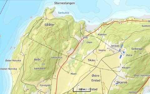 SLETTET: Foretaket Jønvik Samdrift DA er slettet fra Foretaktsregisteret.  Samdrifta ble drevet i Jønvik på Ytterøya, i området midt i kartet.
