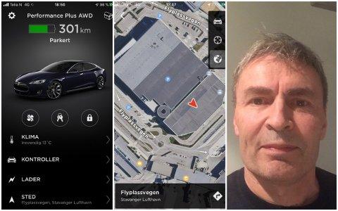 SOLABRANNEN: Arne Sigbjørnsen sin bil er parkert der den raude pila viser. Han kan sjekka temperaturen via telefonen sin.