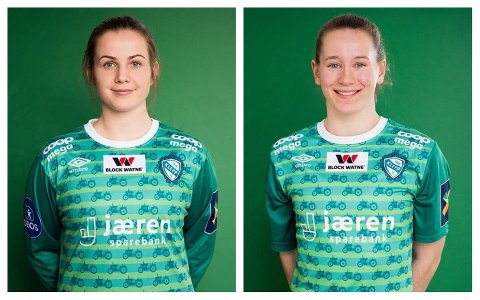 FLYTTER: Kaptein Tuva Hansen (t.v.) og årets toppscorer Elisabeth Terland reiser til Bergen og blir Sandviken-spillere neste sesong.