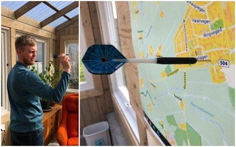 PÅSKEPILA: Terje Vik kastar pila mot Varhaug-kartet. Kvar kveld i påskeveka deler Misjonskyrkja på Varhaug ut eit påskeegg til ein tilfeldig sambygding.