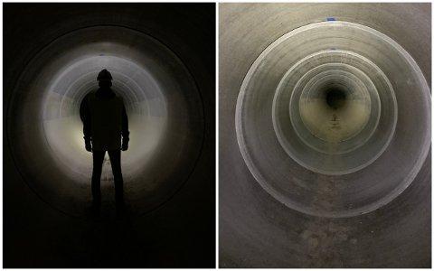 UTSKIFTING: Vigrestad held på å få heilt nytt ledningsnett under jord. Dei nye røyra har ein diameter på 2,4 meter.  Mandag var kommunen på synfaring .