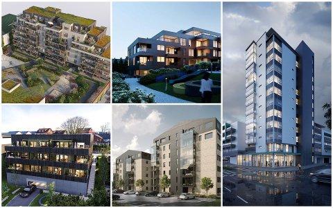 FEM AV FLERE PROSJEKTER: Akkurat nå ligger det leiligheter i 14 ulike prosjekter i markedet i Klepp, Time og Hå.  Soleglad (øverst, t.v.) Kvernaland torg og Tårnet. RUV17 (nederst f.v.) og Meierigården.