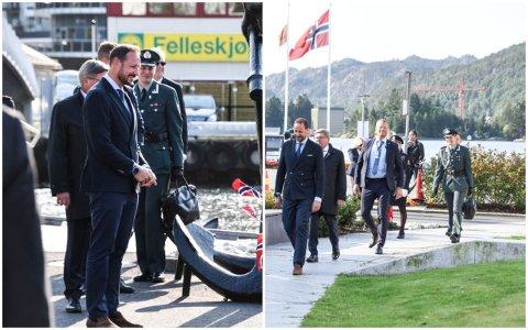 PÅ JOBB: Ommund Liland frå Kvernaland i uniform like bak Kronprins Haakon då Kronprinsen gjesta Flekkefjord torsdag.