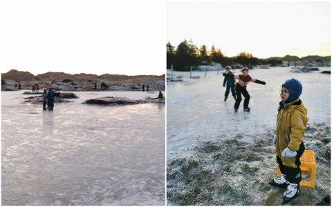 STRANDIS: På isen like ved stranda på Orre, samla folk seg i grupper rundt heile den islagde dammen i bakdynene. Trym, Beate og Lydia, alle med etternamn Hognestad, kosa seg på skøyter.