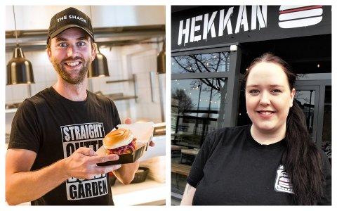 FÅR SKJENKA: Dagleg leiar Olivier Buitelaar på The Shack, og restaurantsjef Aina Øglænd på Hekkan Burger.