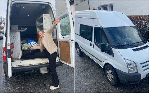 PROSJEKT: Anne May Sandven fra Klepp skal bruke sommeren på å forvandle denne bilen om til hybel.