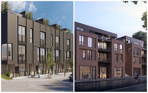 BYHUS: Tomtespesialisten står bak prosjektet i Hetlandsgata (til venstre), og har framleis tru på hustypen. Solbergkvartalet AS droppar byhus (til høgre), og satsar på tradisjonelle leilegheiter.