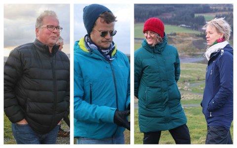 KREV LOVLEGKONTROLL: Kommunestyrerepresentantane Bjarne Undheim (Sp) (t.v.), Jon Torger Hetland Salte (MDG), Beate Aasen Bøe (SV) og Ingrid Fiskaa (SV) er blant dei ti som no ber om lovlegkontroll av vedtaket som opnar for kraftkrevjande industri på Kalberg. Alle bilda er tekne på kommunestyret si synfaring i området 3. november 2020.
