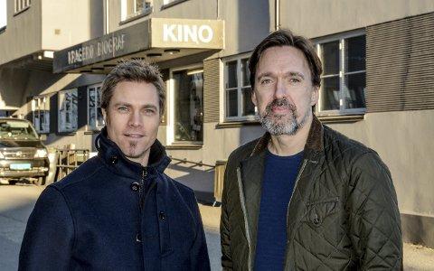 Arrangerer: Petter Dahlgren og Thomas Moen ved kulturskolen oppfordrer ungdom til å melde seg på for å delta i årets utgave av Ungdommens kulturmønstring, som for Kragerøs del blir i kinoen tirsdag 28. februar.