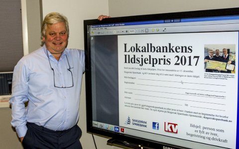 Viktig pris: Jon Guste-Pedersen i Skagerrak Sparebank oppfordrer KVs lesere å komme med kandidater til «Ildsjelprisen 2017». Man kan benytte annonsen som står på trykk i KV eller sende en e-post til banken med forslag på sin kandidat.