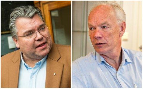 MØTES: Morten Wold fra Frp (t.v.) og Per Olaf Lundteigen fra Senterpartiet er to av deltakerne når Laagendalsposten, i samarbeid med biblioteket, arrangerer debatt på Krona torsdag kveld.