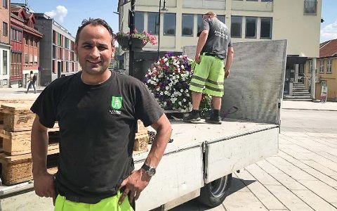 Stor jobb: Jannis Kontogonis fra park og idrett i Kongsberg kommune, jobbet tirsdag med å plante ut sommerblomster i Kongsberg sentrum.