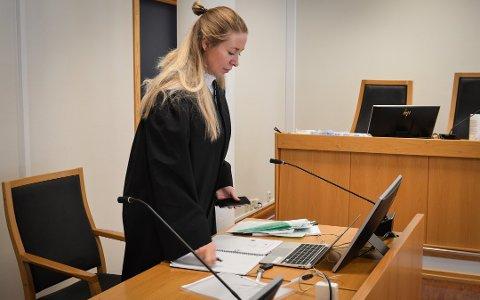 La frem bevis: Politiadvokat Linda Marie Robbestad la frem noen av bildene da saken mot Kongsberg-mannen ble behandlet i retten tidligere i september.