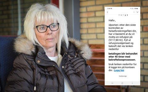 SVINDEL: Søndag fikk Bjørg Grinderud en melding som tilsynelatende er fra Helsenorge. Det er den ikke.