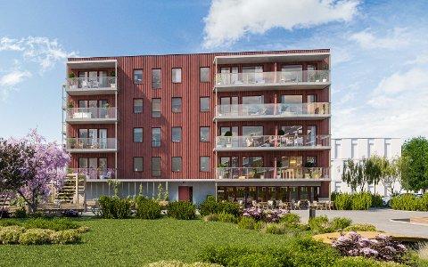 850 BOLIGER: I byggetrinn 1 skal det bygges 17 av til sammen 81 leiligheter i det nye boligprosjektet på Raumyr, Hellebækhagen. Målet er 850 nye boliger. Foto: PK Eiendom.