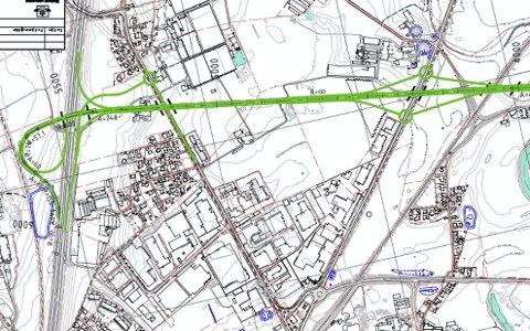 USIKKERHET: Hvor E134 skal legges? Skissen viser det omstridte Huseby-alternativet.
