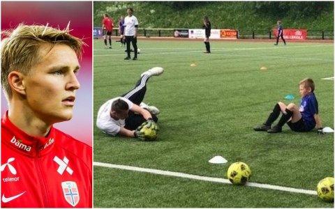 Landslagsprofilen Martin Ødegaard gratulerer Leknes FK med pris.