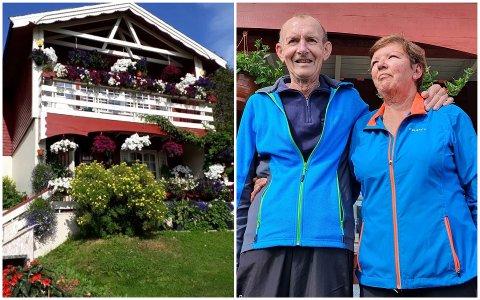 I sommermånedene er det bra frodig i hagen til Kjell og Grethe på Bøstad. Plantestellet og -arbeidet er så omfattende at de ikke har tid til stort annet.