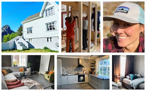 Cecilie Andreassen Evjen og familien har pusset opp dette huset på Reine.