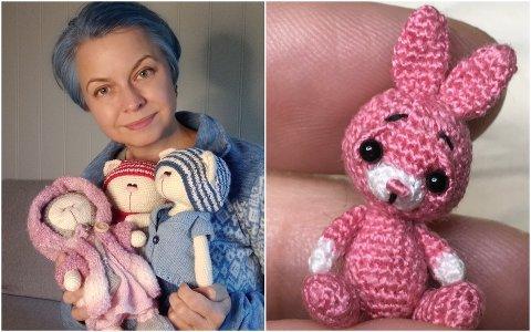 Dorota Anna Chiberska bruker verdens minste heklenål for å hekle små kosedyr, som det til høyre på bildet.