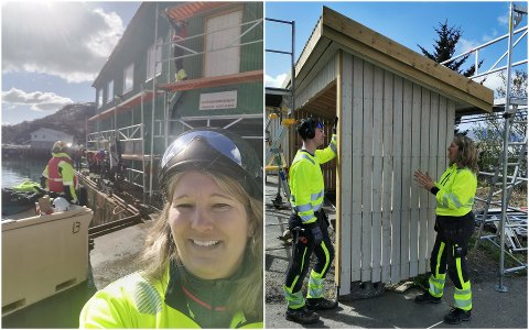 Eva Sæthre er utdannet tømrer og jobber som byggfaglærer ved Vest-Lofoten videregående skole. På bildet til høyre underviser hun elev Jim-Ronny Østrem.