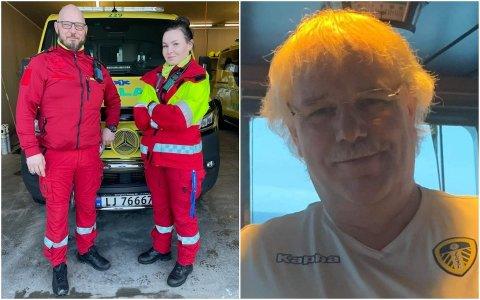 Arne Nikolaisen er veldig glad for hjelpen han fikk av ambulansearbeiderne Kristine Eilertsen og Arnoll Åseng.