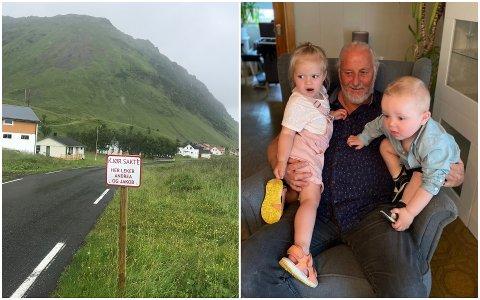 Kurt-Arne Jensen fra Rekdal i Borge tok saken i egne hender da han syntes at en del bilister kjørte vel fort forbi gården hans. Skiltet har han laget for barnebarna Andrea (2,5) og Jakob (1,5).