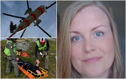 Wenche Kristina Lunde fra Ballstad var uheldig og brakk foten på fjelltur.