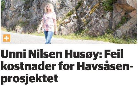 FAKSIMILE: Det var Unni Nilsen Husøy som gjorde fylkespolitikerne oppmerksomme på den grove feilen om kostnadene ved en rassikring i Havsåsen ved Ågedalsstø.