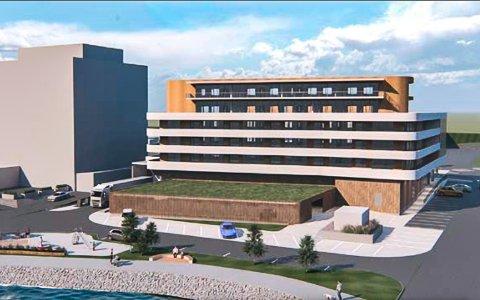 MULIG LØSNING: Tegninga viser hvordan eiendommen framstår i planforslaget per oktober 2020. Som en mulig løsning for et nytt bygg ved siden av hotellet.