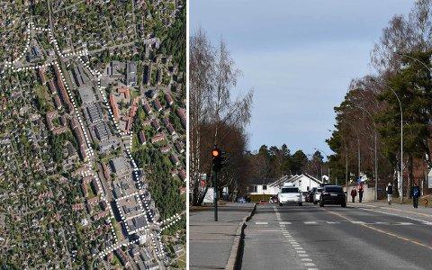 Bildet til venstre viser planområdet på Lambertseter-Karlsrud. Til høyre ses Cecilie Thoresens vei mot Karlsrud.