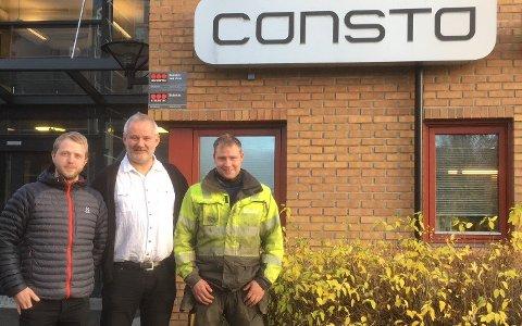 Daglig leder i Consto Anlegg Nord AS, Svein-Erik Løvli (midten) er godt fornøyd med  at de to eierne av Codem AS og selskapets syv ansatte blir del av Consto. Fra venstre: Thomas Gustavsen og Ståle Koht Hansen. (Foto: Consto).