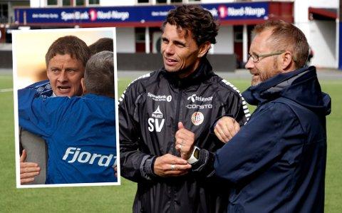 TIL-trener Simo Valakari i samtale med styremedlem Erik Ringberg på Alfheim mandag. Innfelt Ole Gunnar Solskjær, som Valakari møter til trenerduell på Alfheim søndag, drøye 15 år etter de møttes i Premier League.