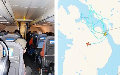 På bakken står SAS-maskinen og venter på å få letter. Rundt Tromsø lufthavn sirkulerer fly som venter på å få lande. Og vinden herjer. Foto: Privat