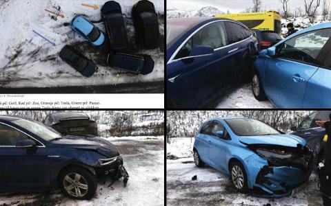 KOLLISJON PÅ UTFARTSSTED: Fire av bilene fikk omfattende skader i sammenstøtet. Retten mener kvinnen burde ventet med å kjøre forbi.