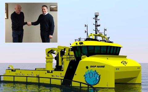NY BÅT:  Daglig leder Ove Amdam i Salthammer Båtbyggeri  (tv) og Keneth Larsen undertegnet storkontrakten mandag.