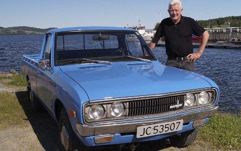 Sjelden bil: Datsun 1500 GNL620 pickup kom på markedet i 1972, men salget i Norge kom ikke i gang før høsten 1977. Bare 338 biler ble solgt, før den nye modellen 720 kom i 1980. Tor Arne Rudsengen har tatt vare på en 620.FOTO: DAG SKOGLUND