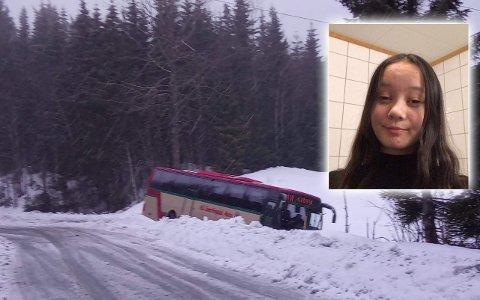 GIKK BRA: Thea Brobakken (15) var blant elevene på bussen da den kjørte i grøfta. – Heldigvis hadde alle belte på, sier hun.