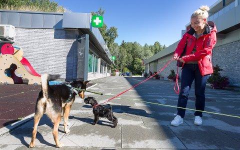 FORNØYD: Nyinnflyttede Cassy og matmor, Iwona Jankowska, synes de har blitt tatt godt imot på Langhus. Her er det Mia som hilser dem velkommen til Langhus nærsenter.