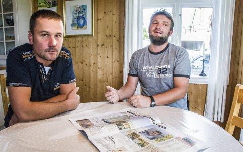 Kjenner seg ikke igjen: Zdzislaw Bereta (t.v.) og Tomasz Durbas har begge sju år bak seg som ansatte i Rolf Kristian Gjerstads byggefirma. Bereta var én av de to polakkene som hadde følge av Gjerstad inn i stemmelokalet sist mandag.Foto: Lasse Nordheim