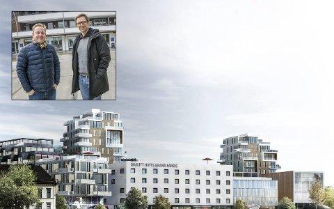 Omstridt prosjekt: Even Borvik og Bruce Atle Karlsen (innfelt) gjorde seg bemerket da de stemte for å sende de reviderte planene ut på høring, stikk i strid med forslaget fra sin egen konstellasjon. Illustrasjon: Dark Arkitekter/Foto: Lasse Nordheim