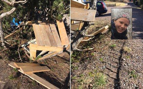 Knuste hytta: Slik så det ut i gården til Camilla Andersen Corriere (innfelt) etter at søppelbilen var innom tirsdag ettermiddag.