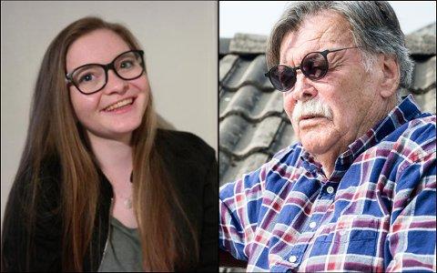 ALDERSFORSKJELL: Sigrid Irgens Hokstad er med sine 20 år kommunestyrets yngste representant, Stig Hatlo er med sine 76 den eldste.