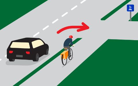 SYKLISTEN MÅ VIKE: Fordi syklisten kjører på en egen atskilt gang- og sykkelvei, er det syklisten som har vikeplikt for bilen. Hadde syklisten derimot syklet i veibanen, ville bilisten hatt vikeplikt. Foto: Gjensidige Forsikring