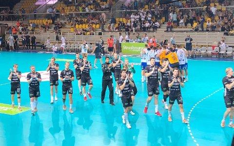 STRÅLENDE START: Elverums håndballherrer kom meget godt i gang i prestisjeturneringen Euroturnoi da de spilte uavgjort 32-33 mot storlaget MOL Pick-Szeged torsdag kveld. Foto: Hein Sverre Ekeberg