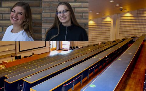 TØFFE TIDER: Tomme auditorium har blitt en vane ved norske høgskoler. Studentene sliter. Det merker Kristin Aldridge (til venstre) og Tea Kristine Aasmundstad tett på kroppen.