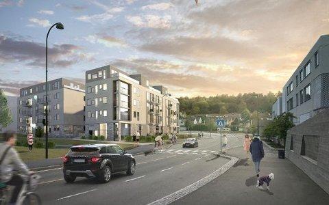 Dette er en skisse til boligprosjektet Teieparken.  Dette er ikke prosjektets endelige utforming, understrekes det fra utbygger.